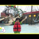 HUGE WATERPARK KIDS FUN Video Splash Pad Waterslide Ride Playground Family Amusement Park Ryan