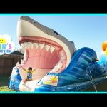 GIANT INFLATABLE SHARK WATER SLIDE FOR KIDS Toys Family Fun Giant Slip N Slide Party Ryan ToysReview
