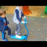 Kids playing in the park with Surfing Scooter by FASCOL