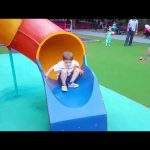 Outdoor playground fun for kids in the park. Slides, swings, seesaws……..