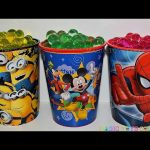 SURPRISES CUPS Orbeez Minions Spider Man Mickey Mouse the Good Dinosaur Bling bags Egg toys for kids