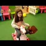 Indoor playground fun for kids with treasure and little toy horse. Family video 2016