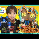 Halloween Haunted Chocolate Cookie House Kit Candy Gummy Worm Shopkins Pumpkin Surprise Toys Opening