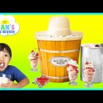 ICE CREAM MAKER Machine! Makes REAL YUMMY ICE CREAM treats with Ryan ToysReview and Spiderman toy