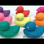 Learn Colors Glitter Play Doh Ducks with Sports Theme Cookie Cutters Fun & Creative for Kids Rhymes