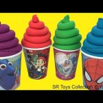 Play Doh Ice Cream Surprise Toys in Cups Mickey Mouse Club House Disney Cars Toy Story Spider Man