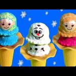 FROZEN ICE CREAM TOYS Anna Elsa Olaf Ice Cream Scoops Tower DIY Make Play Doh Sparkle Cones
