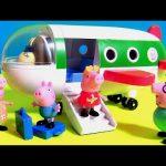 Pig George traveling by Plane in Peppa Pig Holiday Airplane Jet ~ Disney Toys Surprises PJ Masks