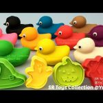 Fun Play and Learn Colours with Play Doh Ducks with Halloween Molds for Kids