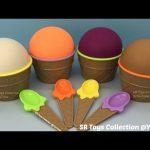 Play Doh Ice Cream Surprise Eggs Spiderman Disney Princess Iron Man The Good Dinosaur Toys