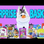 Giant Frozen Surprise Basket Olaf ★ Big Hero 6 Play Doh Hello Kitty Minions Shopkins 2