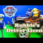 PAW PATROL Nickelodeon  Rubble get his Driver's License Remote Control Toys Video Parody