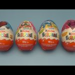 Opening 4 HUGE GIANT JUMBO Christmas and Valentine's Kinder Surprise Eggs!