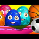 Surprise Eggs Nursery Rhymes Toys   Three Little Kittens – Games   Learn Colours & Sports Equipments
