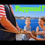 Outdoor Playground fun for kids with bad pirates. Video from KIDS TOYS CHANNEL.