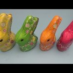 Learn Colours and Numbers with 4 HUGE GIANT JUMBO Surprise Toy Chocolate Bunnies!