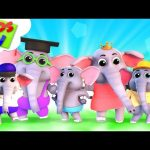 Five Little Elephants | Junior Squad Cartoons | Nursery Rhymes For Children – Kids Tv