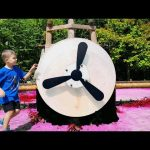 Kids playing in the park. Playground with Airplane and Ship Pirates. Funny video