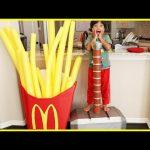 Kid eats Giant McDonald's Fries! Pretend Play Food with McDonald's Drive Thru